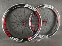 빨간색 F6R 700C 3K 광택 60mm FFWD 탄소 합금 도로 자전거 바퀴 전면 리어 클리너 휠셋 23mm 너비 빨간색 Novatec A271 허브 11 속도