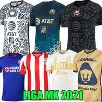 21 22 Club America Soccer Jersey Chivas Cruz Azul Champions Giovani 2021 Tigres Uanl Liga MX Guadalajara 115 سنة قميص كرة القدم A.vega Macias طويلة الأكمام ليون الزي
