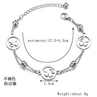 Korean Jewelry Simple Lucky round Brand Hollow Four-Leaf Clover Bracelet Double-Layer Chain Stainless Steel Womens Bracelet Wholesale