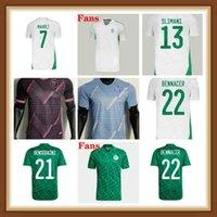 الجزائر كرة القدم الفانيلة المنتخب الوطني زي 2021 2022 رجل أطفال كيت Bensebaini Bennacer Mahrez Football Jersey Atal Brahimi Benrahma Maillot de Algerien 21 22 Top