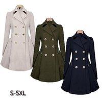 Women's Trench Coats Women Coat Autumn Double Breasted Warm Windbreaker Causal Long Ladies Female Plus Size