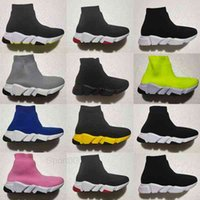 Infant Speed Sock Kids Running Shoes Baby Flat Pull On Toddler Sneakers Pumps Trainers Black White Pink Boys Girls Runners Sport Shoes