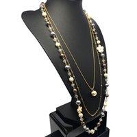 Kristallperlen 3 Schichten ABS Pearl Schmuck lange Halskette Luxus Marke / Collier Perle Longue / Collares Perlas Largos / Colares Perolas