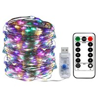 Strings 100 LED Fairy String Lights 5V USB Starry Light Waterproof Copper Silver Wire Decorative With Remote For Valentine