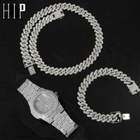 Hip Hop 135MM 3PCS KIT Heavy Watch+Prong Cuban Necklace+Bracelet Bling Crystal AAA+ Iced Out Rhinestones Chains For Men Jewelry