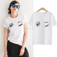 Summer Cotton Femmes T-shirts Chiara Ferragni Fashion Big Eyes Broderie Sequins Loose Style T-shirts Femmes Casual Tops CS3