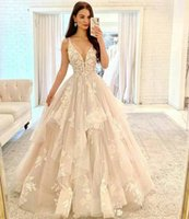 Spaghetti V Neck A Line Lace Wedding Dresses Appliqued Ruffles Sweep Train Corset Back Tulle Plus Size Bridal Gowns