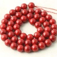 1Strand / lot Round Branelli di corallo rossi rotondi Perline di gioielli di modo di pietra per la creazione di gioielli che fanno il braccialetto di DIY Collana Branelli allentati 112 Q2