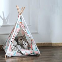 Cat Beds & Furniture Pet Tent House Portable Bed Teepee With Mat Indoor Available For Dogs Cats Fold Breathable Puppy Supplies