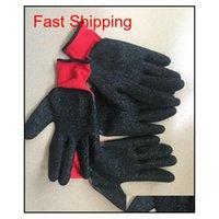 Новый черный латекс красный / серый хлопчатобумажные перчатки рабочие перчатки нейлон overhun jlltft trustbde