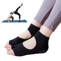 Sports Socks 1 Pair Yoga For Women Non Slip Toeless With Grip Pilates Barre Ballet Dance Fitness Sport Sock Cotton Slippers