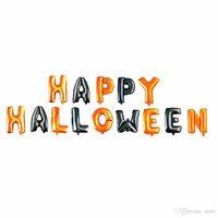 14 Adet / takım Mutlu Cadılar Bayramı Balon Folyo Mektup Balon Parti Dekorasyon Için Siyah Ve Turuncu Balonlar Parti Malzemeleri JK1909