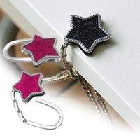 Hooks & Rails Bag Hook Shiny Folding Zinc Alloy Rhinestone Crown Star Table Edge Handbag Hanger For Home Keychain Cute Pendant