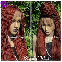 wigs auburn black brown Braided Lace Wig long braids lace front wig synthetic hair new box braids wig for black women