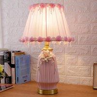 Americano flor simples rosa azul mesa de mesa de cerâmica para sala de estar quarto quarto de cabeceira luz noite luz decorativa