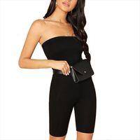 Bodycon Playsuits Bodysuit Siyah Bayan Romper Sıska Glitter Straplez Tube Kolsuz Streetwear Kadın Dropshipping