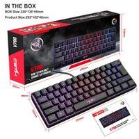 Klavyeler HXSJ V700 61 Tuşlar RGB Arka Işık Tuş Takımı USB Kablolu Oyun Klavye Bilgisayar PC Oyuncular için