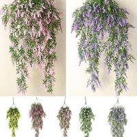 Decorative Flowers & Wreaths 2 PC Artificial Lavender Flower Vine Hanging Garland Plant Fake Green Twigs Home Garden Wedding Decor