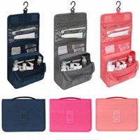 Toiletry Kits NoEnName-Null Waterproof Portable Travel Makeup Washing Case Pouch Solid Color Organizer Cosmetic Bag