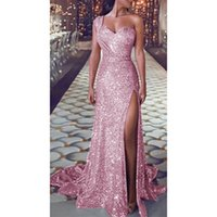 Casual Dresses Sequin Dress Women Sexy One Shoulder Party Ladies Elegant Robe Ball Gown Gold Bridesmaid V Neck High Split Long Dresss 202