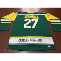 001 Charles Charters # 27 Bolet Bouret Logan Humboldt Broncos Real Green Вышивка Хоккей Джерси или пользовательское имя или номер ретро Джерси