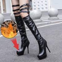 Boots Plus Size 34-46 Fashion Round Toe Women Shoes Sexy Thin High Heel Platforms Party Shoe Woman Winter Ovet The Knee