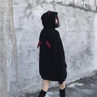 Women's Hoodies & Sweatshirts Women Casual Loose Lay Dark Letter Embroidery Hooded Sweatshirt Vintage Little Devil Streetwear