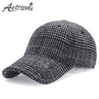 Ball Caps [AETRENDS] 2021 Winter Plaid Woolen Baseball Cap Men Women Cotton Snapbacks Hats Z-6246