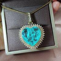 Wong Yağmur 925 Ayar Gümüş Aşk Kalp Paraiba Turmalin Zümrüt Gemstone Sarı Altın Sarkık Kolye Güzel Takı Toptan 0221