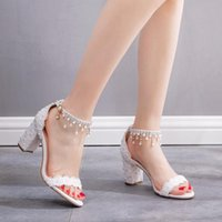 Dress Shoes 7CM White Lace Pearl Wedding Sexy High Heels Block Ankle Strap Summer Ladies Sandals Buckle Female Size34-42