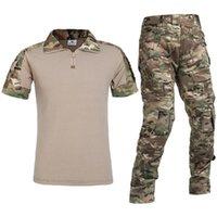 Gym Clothing Men's Tactical Short Sleeve Combat Shirt And Pants Set MultiCamo BDU Hunting Military Uniform 1 4 Zip