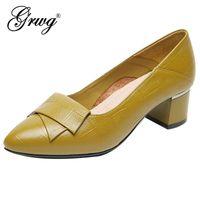 GRWG marca sapatos grossos salto senhoras bombas de couro genuíno dedo apontado toe colorido saltos quadrados festa artesanal tamanho grande tamanho sapatos mulheres