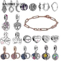 Fahmi 2021 Winter 925 Silver Sparkling Crescent Moon Heart Family Tree Charm Ring Earring Link Chain & Stones Bracelet white