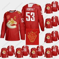 Vancouver Canucks 2021 Chino Año Nuevo Red Jersey Bo Horvat Brock Boeser J.T.Miller Igor Larionov Elias Pettersson Quinn Hughes Jay Beagle