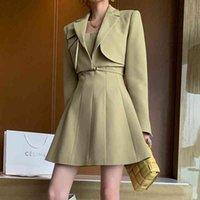 Two Piece Dress Blazer feminino de negócios, conjunto duas peças com temperamento, elegante, outono, novo trabalho, moda, traje curto, vestido, faixa OZP9