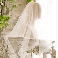 Bridal Veils Romantic Long Applique Brides Veil Lace Beige For Women Tulle Wedding Dress Accessory High Quality