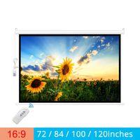 شاشات الإسقاط Touyinger 16: 9 72/84/100 / 120inches الشاشة الكهربائية لستائر جهاز العرض بمحركات جميع LED LCD DLP الليزر