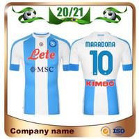 20/21 Napoli Hatıra # 10 Maradona Futbol Formaları 2021 Dördüncü Uzakta # 14 Mertens Maillots De Foot Hamsik Milikler Futbol Gömlek Üniformaları