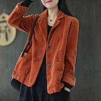 Women's Suits & Blazers Vintage Women Corduroy Jacket Spring Loose Single Breasted Pure Cotton Coat Turn Down Collar Black Ladies