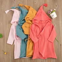Pajamas Children Long-sleeved 100% Bubble Cotton Bathrobe Sleepwear Solid Color Lace Hooded Bath Robe Toddler Home Bathing Suits 1-5T