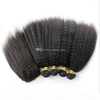 Лучшие продажи kinky прямые волосы 4 фундаментальные с кружевной закрытием 4x4 крупногабаритные яки верхние кружева с расширениями волос 5 шт. Лот для черной женщины