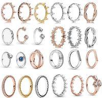 2021 Wiosna Pandora Pierścień 925 Sterling Silver Rose Gold Różowy Zaczarowany Koronki Pierścionki Oryginalna Moda DIY Charms Biżuteria dla kobiet