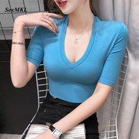 Women's T-Shirt Summer Sexy T Shirts Womens 2021 Fashion Short Sleeve Casual V Neck White Korean Clothes Streetwear Black Tshirt