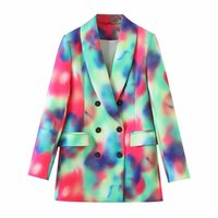 Fashionable Versatile Slimming Casual Tie-Dyed Double-Breasted Suit Jacket European And American Style