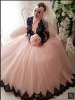 2021 vintage gothic pink tulle ball gown prom dresses black lace appliques muslim long sleeve elegant party gowns sweet 16 princess puffy quinceanera dress