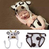 Dibujos animados animal hecha de punto memorable recién nacido hecho a mano bebé traje conjunto fotografía puntel de crochet trajes ropa lindo suave