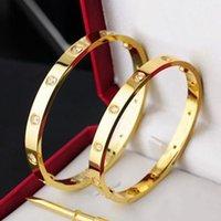 Edelstahl Armreifen Frauen Männer Schraube Schraubendreher Liebe Armband Luxus Designer Paar Schmuck mit roten Staubbeutel