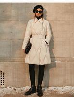 2021 Lingge Taille Länge Frauen Wintermantel Dicke Daunen Baumwolle Taschenjacke Outdoor Parka Mode Gürtel Hochwertiger Großhandel
