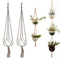 3 층 철 후프 원예 녹색 식물 옷걸이 꽃 냄비 그물 가방 대마 밧줄 교수형 실내 실외 후크 장식 LLA411
