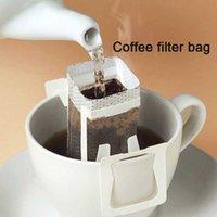 100 unids / pack goteo de goteo bolsa de filtro de café portátil colgante estilo oreja filtros de café papel oficina oficina viaje café café y té herramientas